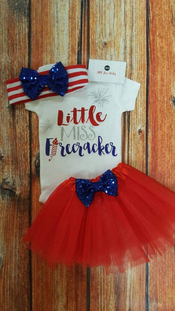 Baby Girl Clothes, Little Miss Firecracker Bodysuit, Infant 4th of July Infant, Newborn is part of Girl Clothes Ideas - Little Miss Firecracker SS ShortSleeve    LS LongSleeve If you want to add a name or phrase there is a charge per letter, please complete your order in the  custom order  blue bar  Accessories Sold Separate Bodysuit Only To ensure the life of your product wash inside out in cold water and tumble dry on low If you would like the shirt in a bodysuit or Tshirt rather what is shown put it in the notes and the price is the same! Want to change the color  No problem! Just add it in the notes, the color selection is on the second photo This shirt is in white Note Once shipped I have no control of your package  If you wish for express shipping ask in email ahead of time to make sure its possible, I will do whatever I can to get your package to you when you need it  Gifts If you wish this to be a gift simply add it in the notes and it will be gift wrapped  If you wish to add a note simply specify  Returns If there is a problem please email me and we will do everything to make it right, please try this before leaving negative feedback   Colors Sometimes colors look different on the computer than on the bodysuit if this worries you please email me before ordering so we can ensure you get the color you want