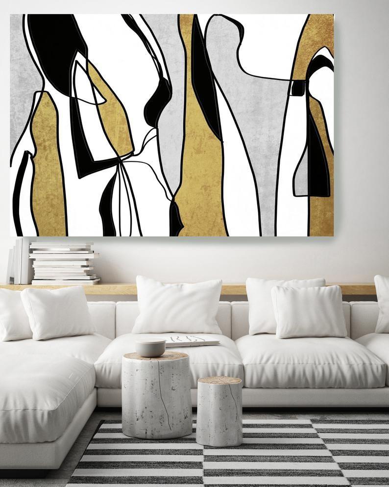 Abstract Art Gold Grey Nordic Wall Art Scandinavian Modern Etsy Modern Art Abstract Contemporary Art Canvas Modern Art Paintings