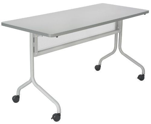"""Safco Products Impromptu Rectangle Mobile Training Table, 60 by 24-Inch, Gray Top with Silver Base by Safco. $252.67. For training sessions or conference meetings. Tables are 29"""" high. 1 1/4"""" Tubular steel base. 1"""" Thick high pressure laminate top and durable vinyl edge band. Top folds down easily for nesting and storage. Thrive on impulse. Impromptu Mobile Training Tables work together to create unique combinations for training sessions or conference meetings. All tables are 29..."""