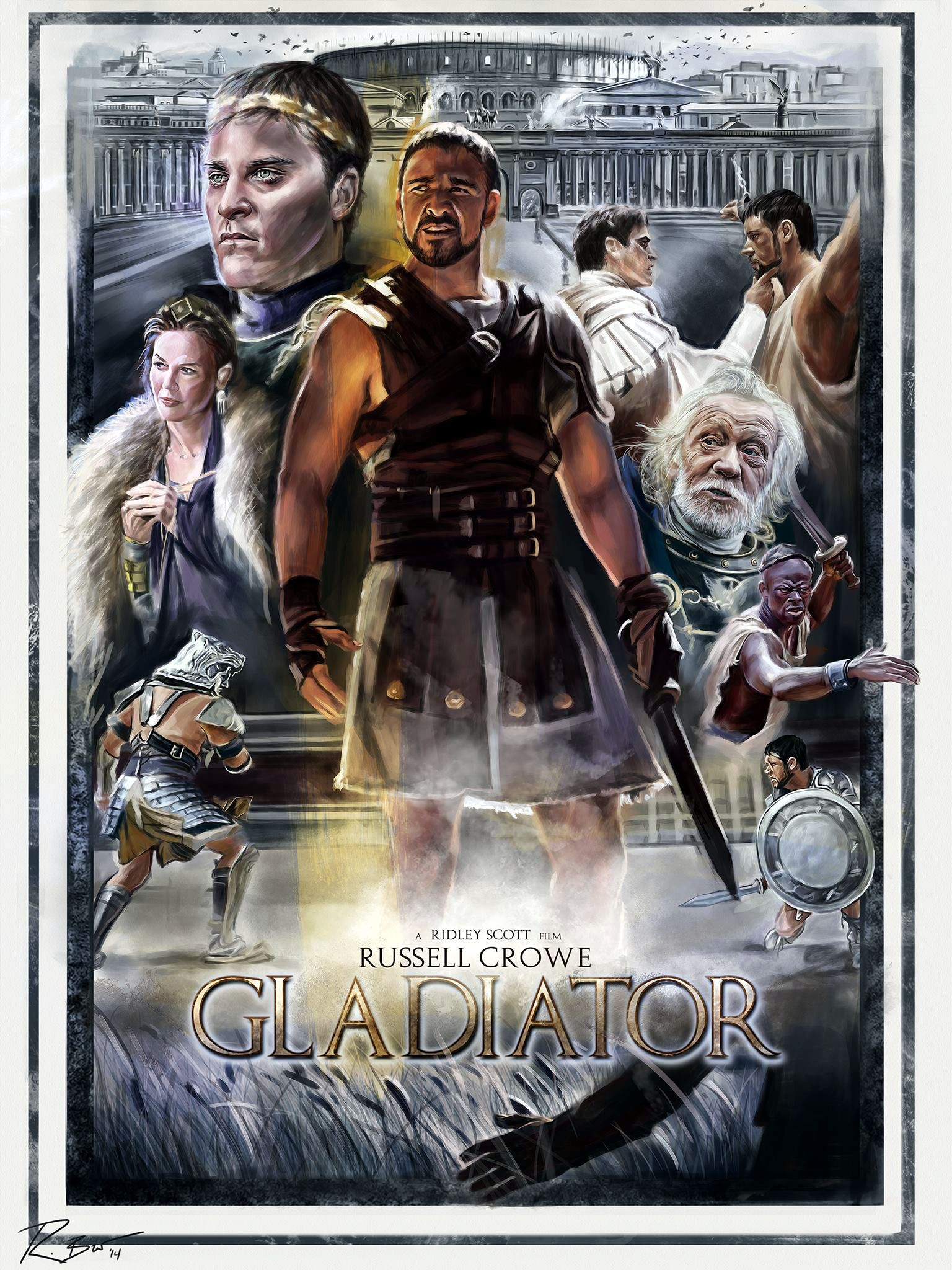 "Gladiator - Robert Bruno ---- HERO COMPLEX GALLERY PRESENTS: ""IMAGINED WORLDS; The Imagined Worlds of del Toro, Gilliam, Kubrick, Lynch & Scott"""