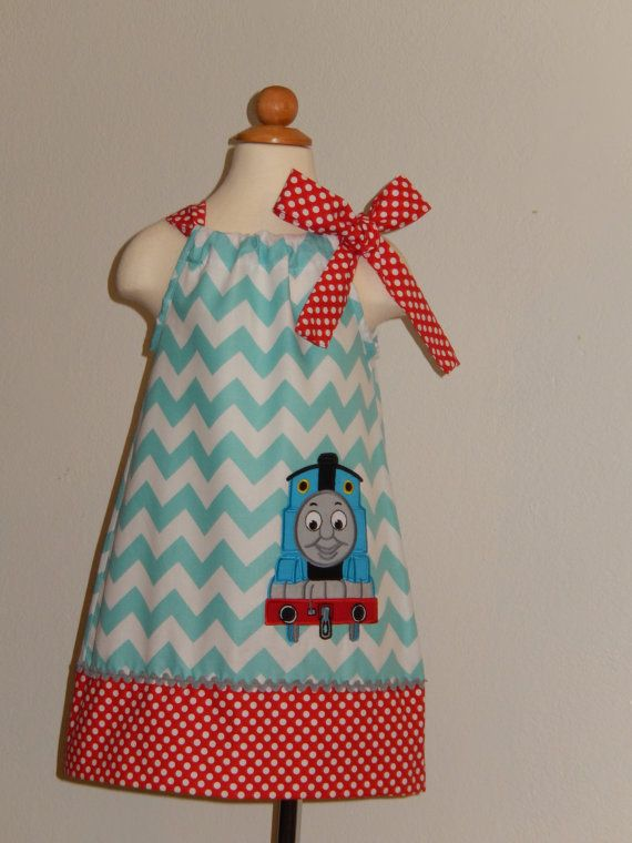 Thomas The Train Pillowcase Beauteous Thomas The Train Aqua Chevron Pillowcase Dress By Just60Princess