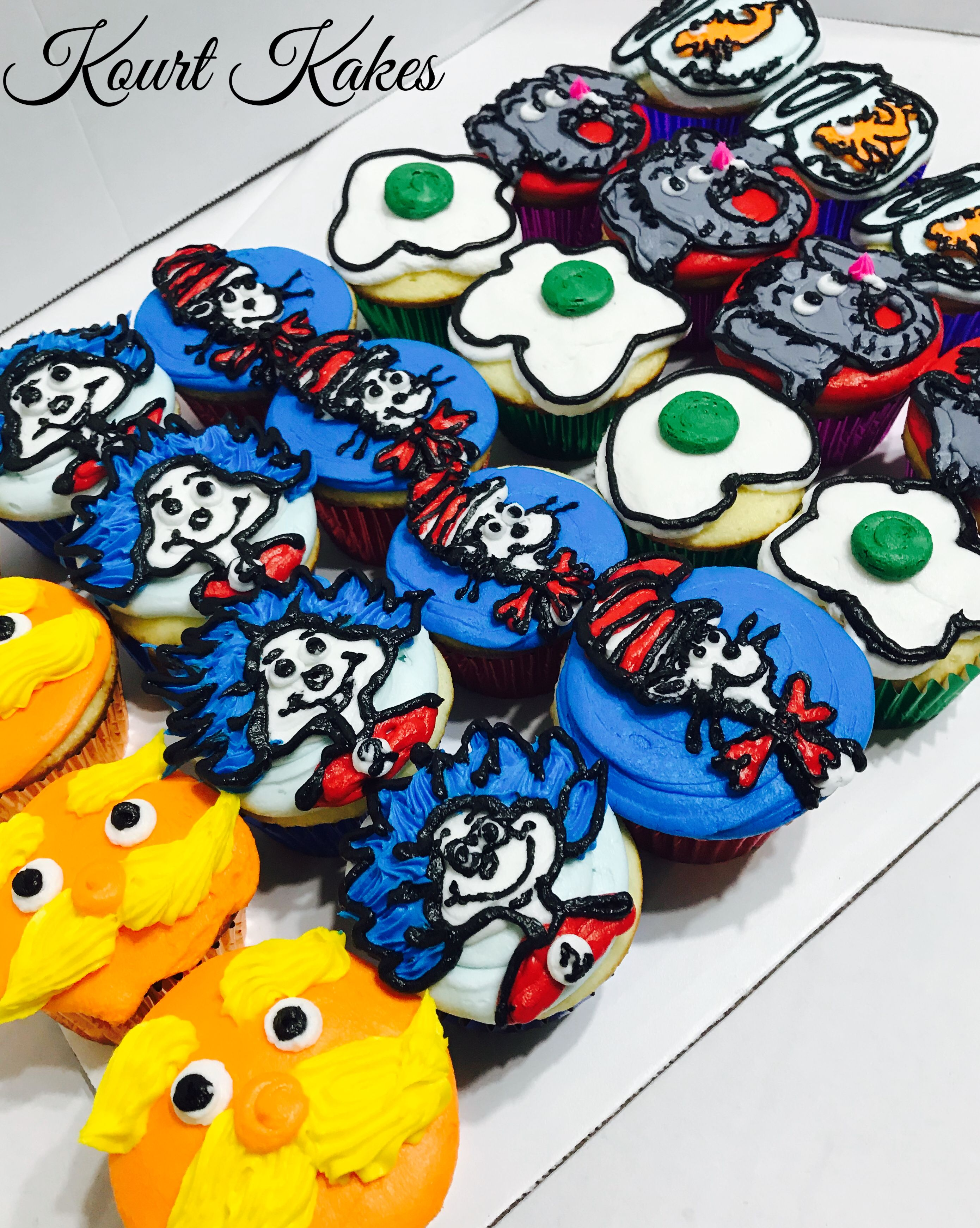 Buttercream dr seuss cupcakes in 2020 seuss cupcakes