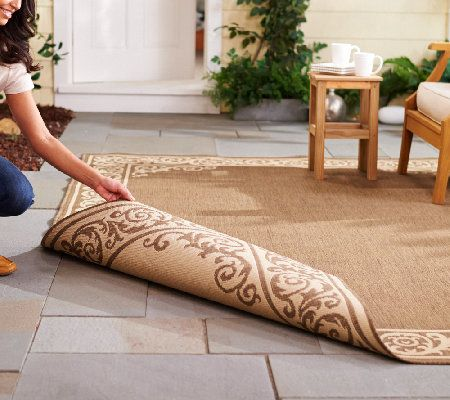 Veranda Living Border Scroll Design Indoor Outdoor Reversible Rug