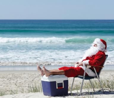 Santa at the Beach | Tropical christmas, Beach christmas, Florida christmas