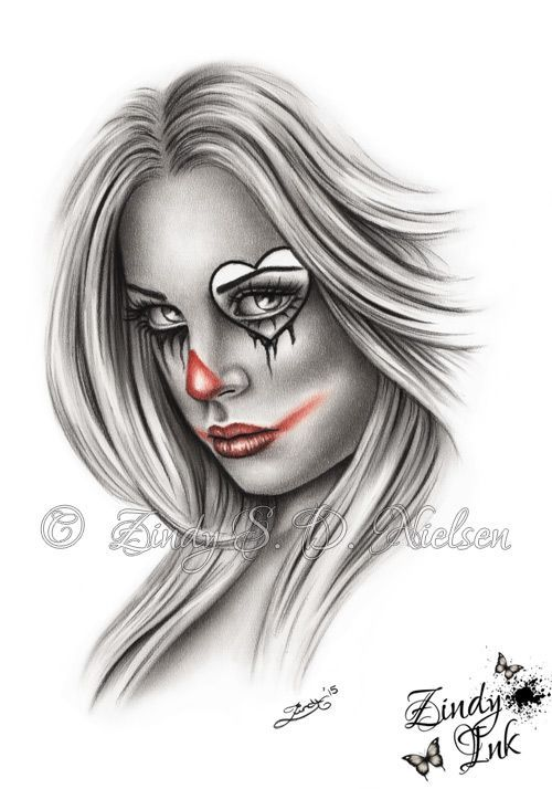 Sad Clown Chicano Tattoo Design By Zindy S D Nielsen