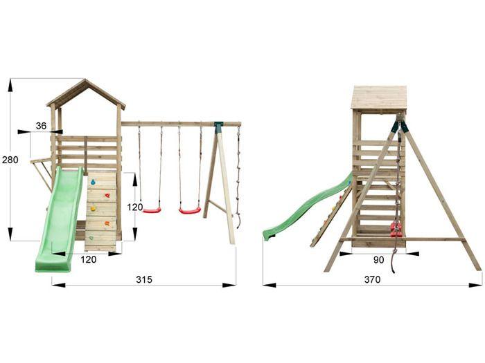 Shop - speeltoestel met glijbaan, klimwand en schommelaanbouw (incl. schommelzitjes en knopentouw)