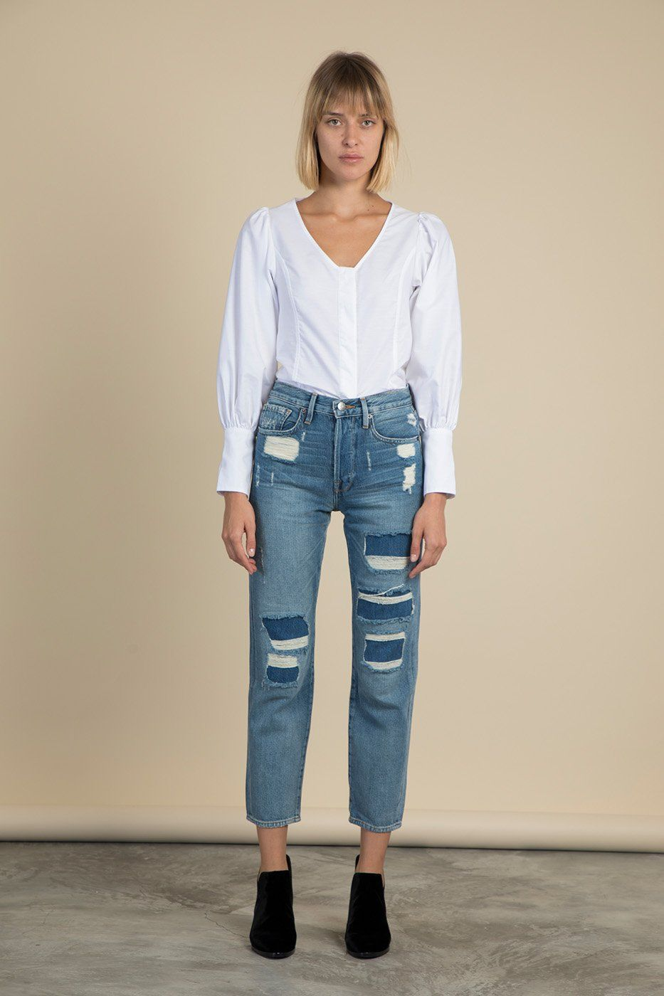 644d58d01 Le Original Distressed High-Rise Straight-Leg Jeans | Frame Denim ...