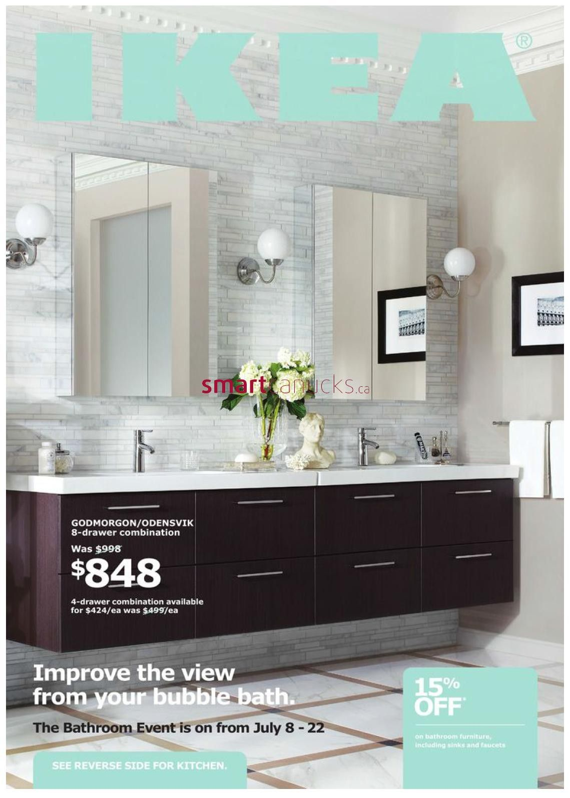 just half ikea godmorgonodensvik sink cabinets with four drawers and lillholmen wall lamps and dalskar bath faucets and godmorgon mirror cabinets - Bathroom Design Ideas Ikea