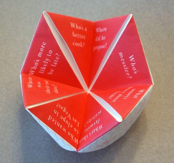 Wedding Favor Cootie Catcher Decoration Invitation Program Personalized Party Origami Diy Menu Custom