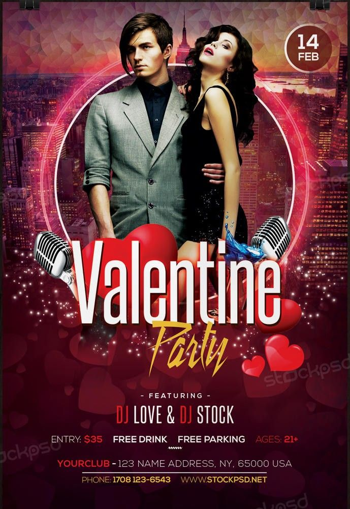 Valentines Party   Free Psd Flyer Template  Free Psd Flyer