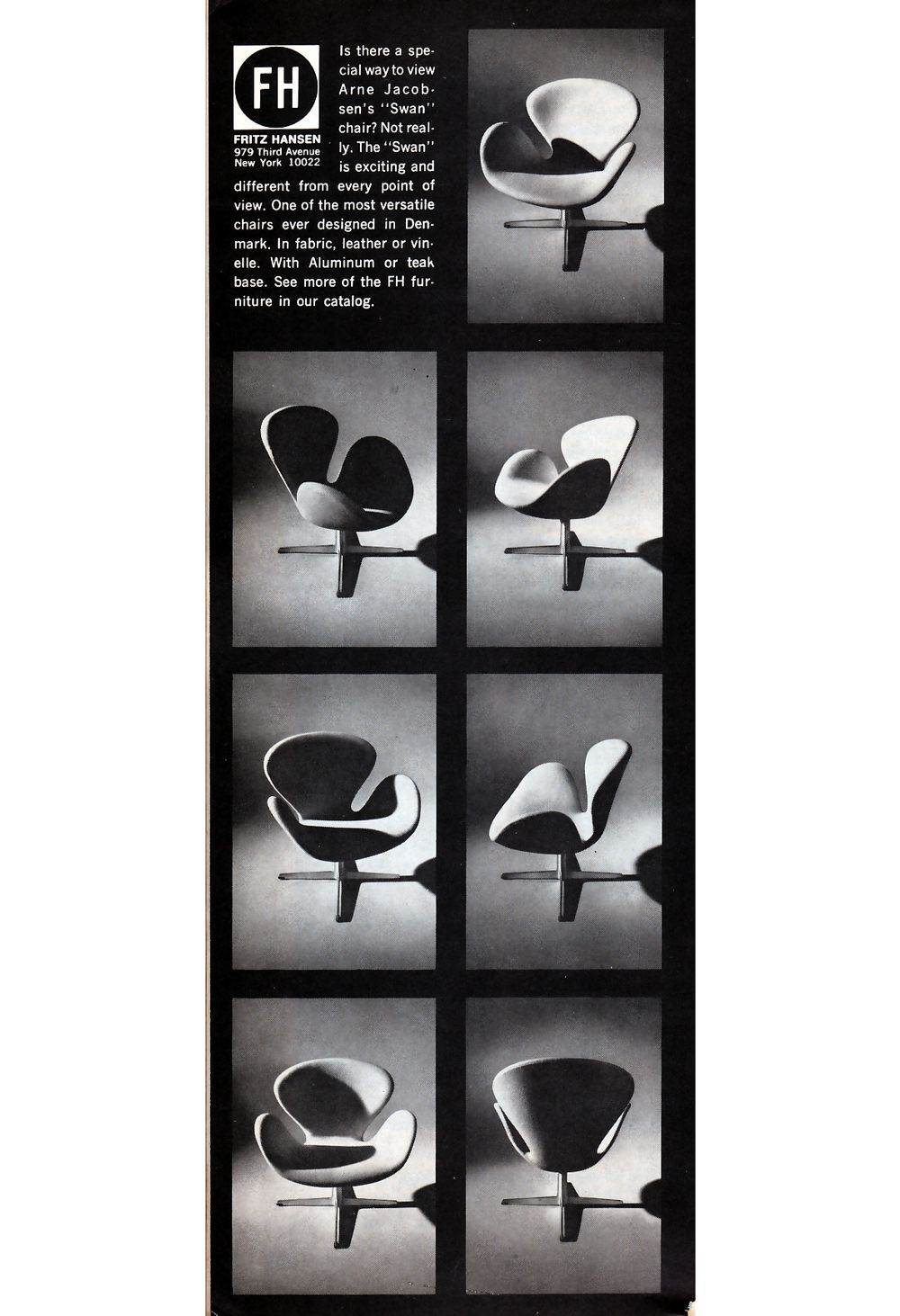 Printed ad for the Fritz Hansen Showroom in New York featuring the Swan chair designed by Arne Jacobsen. | Atlas | DesignAddict