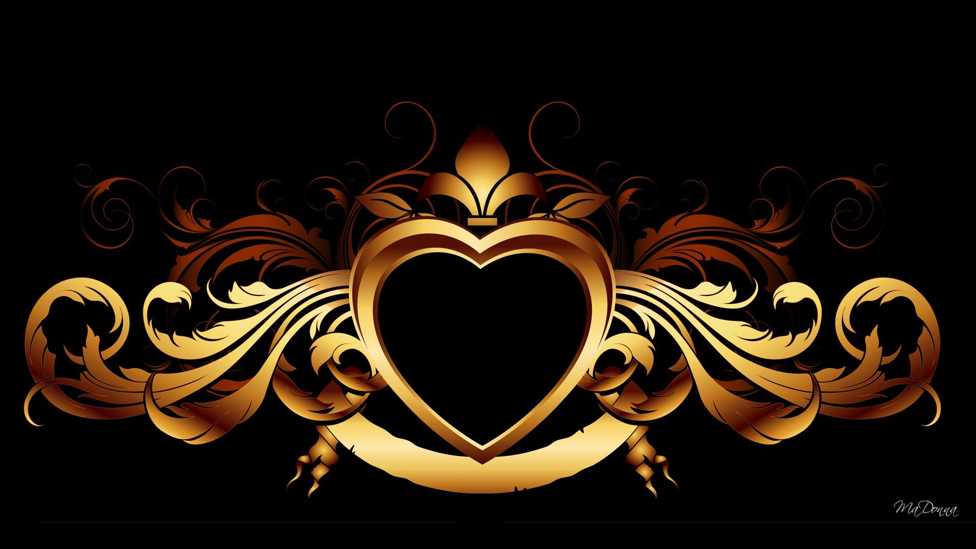 Gold Heart On Black wallpapers HD free 299435 Gold