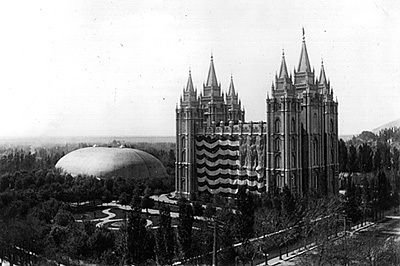 U.S. flag on the Mormon Temple, at Utah statehood in 1896