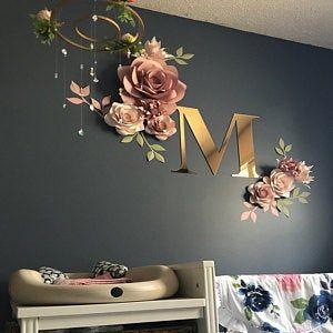 Satz von 9 Premium-Qualität Papierblumen - Papier Blumen Wand-Dekor - Kinderzimmer Wand-Dekor
