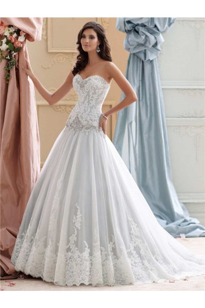 Fantastic Ball Gown Drop Waist Dusty Blue Lace Crystals Wedding Dress