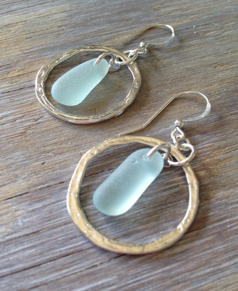 Beach Glass Earrings Sea Glass Earrings Sea Glass Hoop Earrings Seaglass Jewelry Beach Glass Jewelry Sterling Silver Hoop Earrings