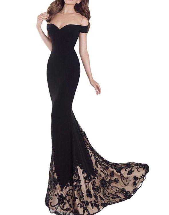 Black Prom Dresses,Mermaid Prom Dress,Lace Prom Dress,Lace Prom ...