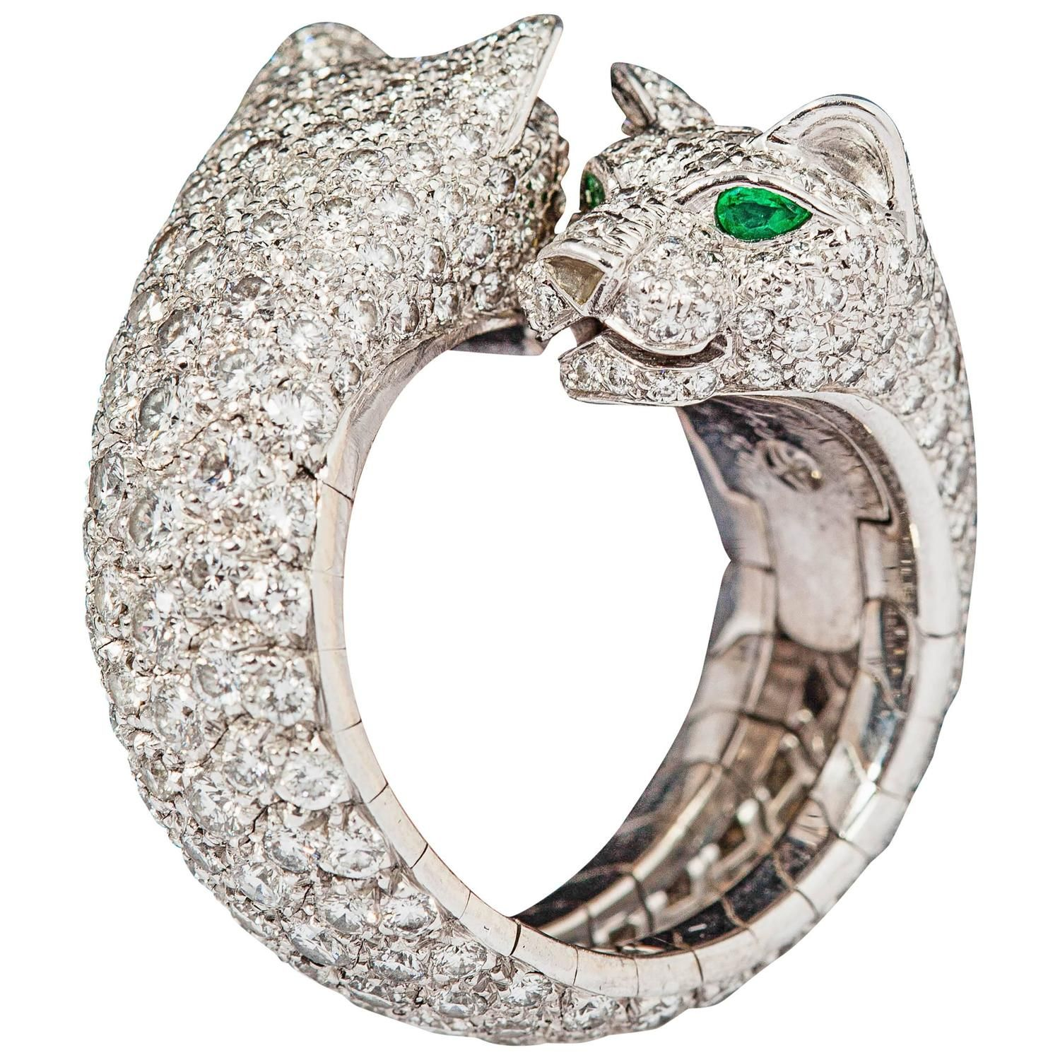 917fe08720be4 Cartier Stunning double panther emerald diamond gold ring | Jewelry ...