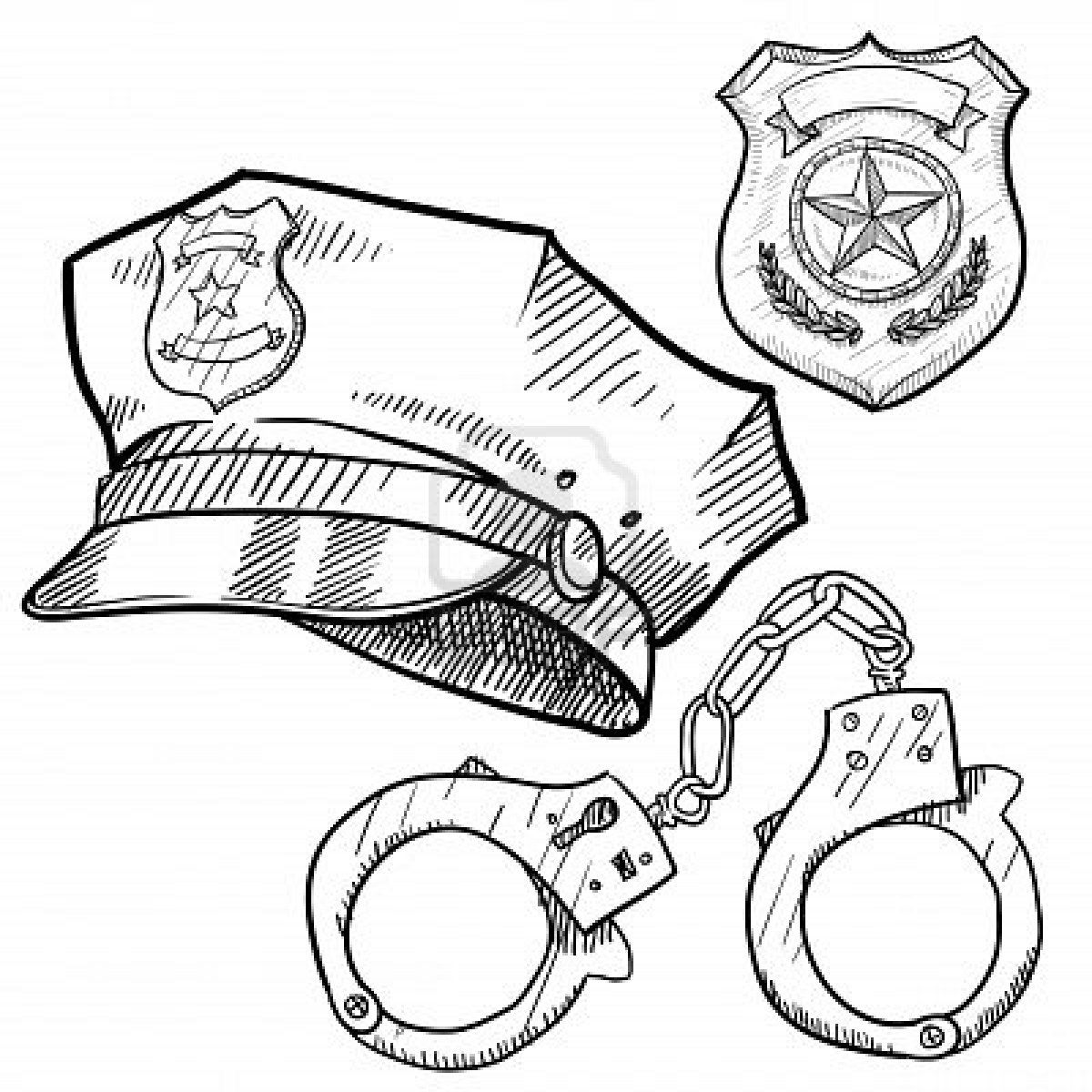 Stock Photo In 2020 Police Hat Police Officer Badge Sketches