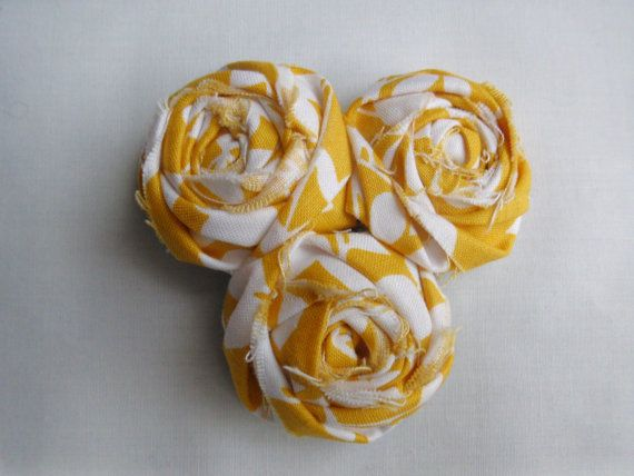 Spring 2012 color yellow fabric rosette hairclip by 4thgenerationdesigns