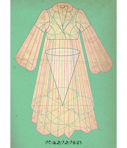 "From the incredible series of drawings from tracciamenti, ""Paper Dress Poetries"""