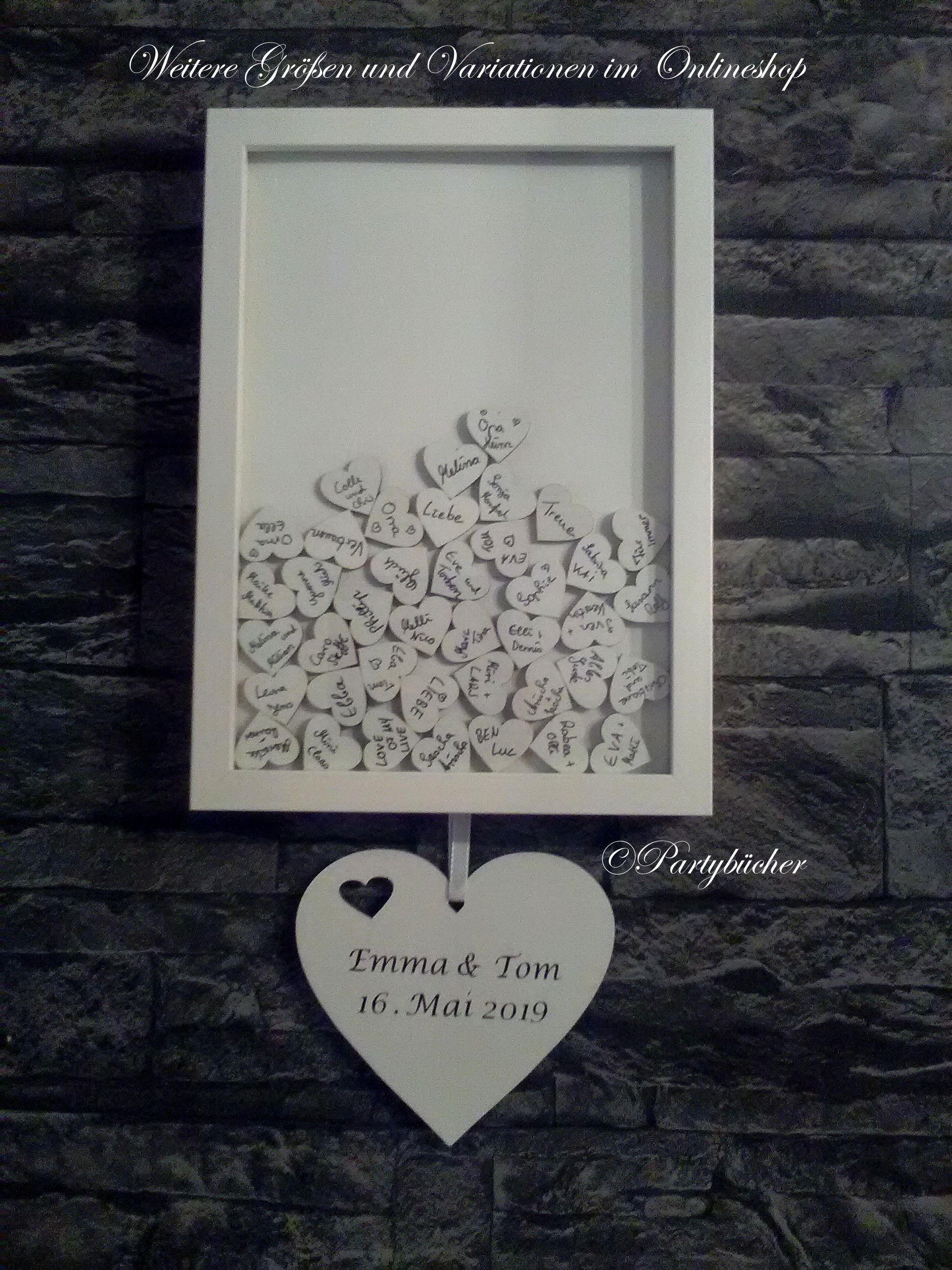 Holzherzen Gastebuch Hochzeit Gastebuch Bilderrahmen Personalisiert Grosse L Wedding Guest Book Wooden Hearts Frame