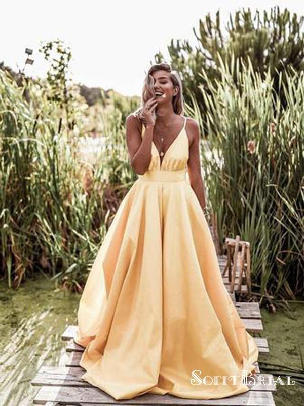 96868448fa8 Sexy Spaghetti Straps V-neck Long Empire Prom Dresses 2019