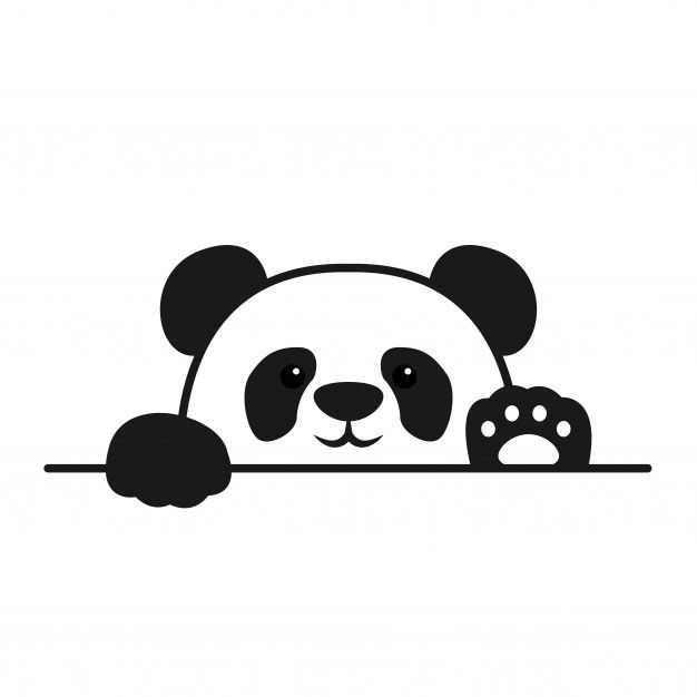 Cute panda paws up over wall, panda face...   Free Vector #Freepik #freevector #freebaby #freeicon #freenature #freecharacter