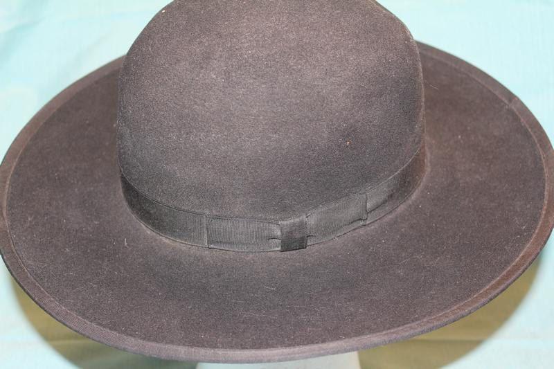 Vintage Dynafelt Amish Style Men's  Western Fur Felt Wide Brim Black Hat  Size 7…