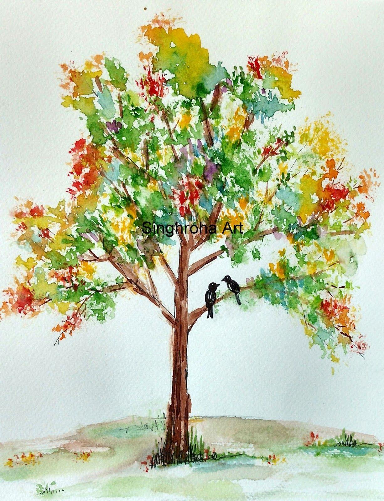 Colorful Spring Tree Watercolor Paintings Easy Beginner