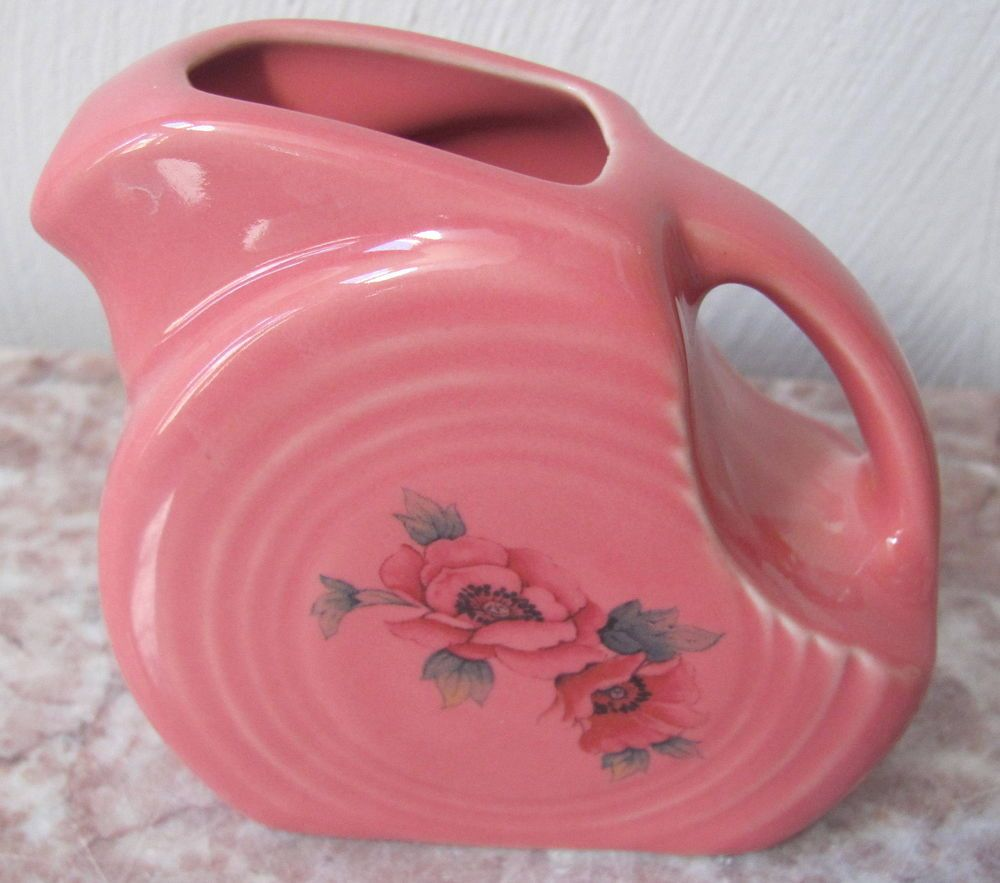Flamingo Fiesta Fiestaware Mini Disc Pitcher w/ Floral Flowers & Flamingo Fiesta Fiestaware Mini Disc Pitcher w/ Floral Flowers ...