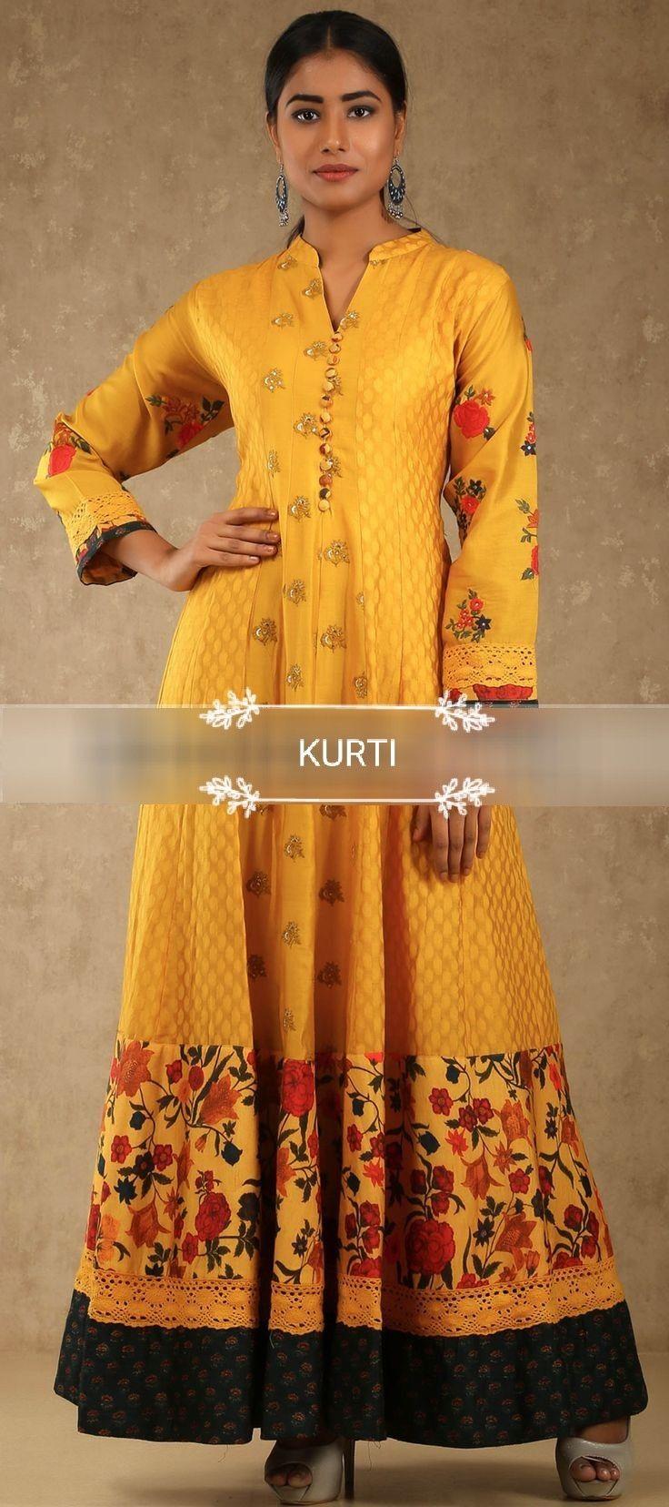 Muslin long kurti dress with great detailing and matching أزياء