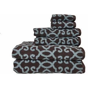 Perfect Better Homes And Gardens Jacquard 6 Piece Towel Set, Aquifer/Costa Brown