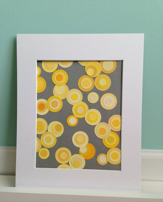 Upcycled Yellow Paint Chip Art ... card inspiration ... deep gray ...