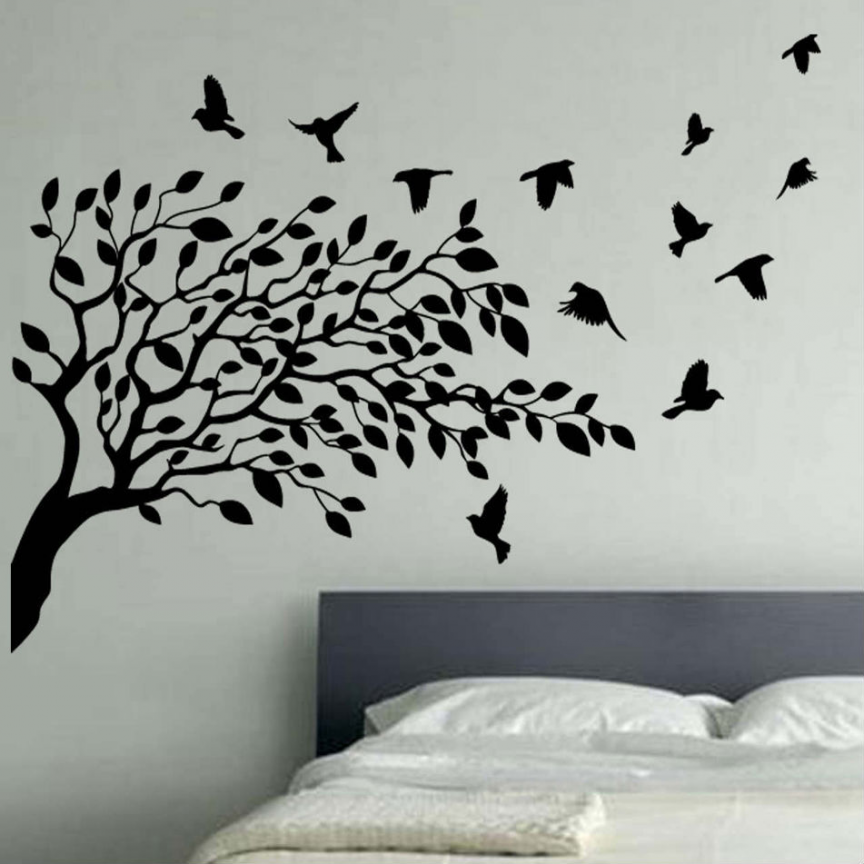 art bird and butterfly vinyl wall art flying birds tree vinyl wall ...