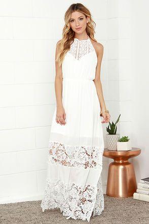 1f2148757e9 Dashing Dame Ivory Lace Halter Maxi Dress at Lulus.com!