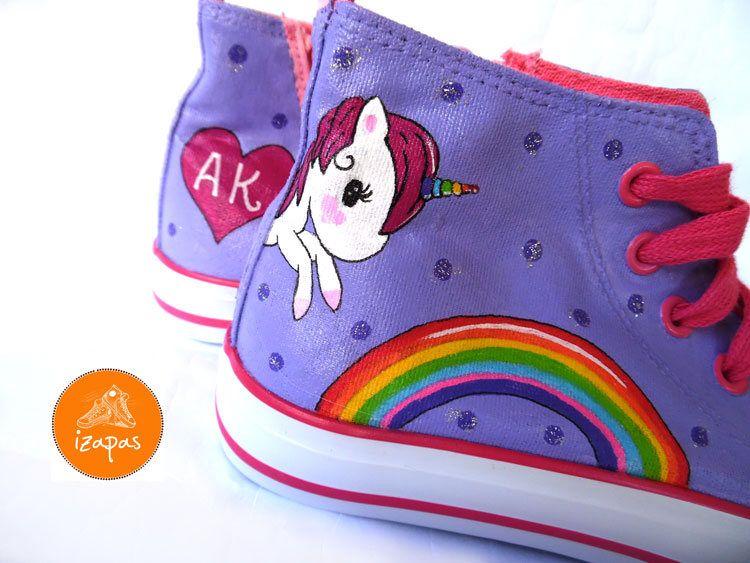 280de6a66e4d5 Unicorn Rainbow Painted Sneakers, personalized canvas shoes, custom ...