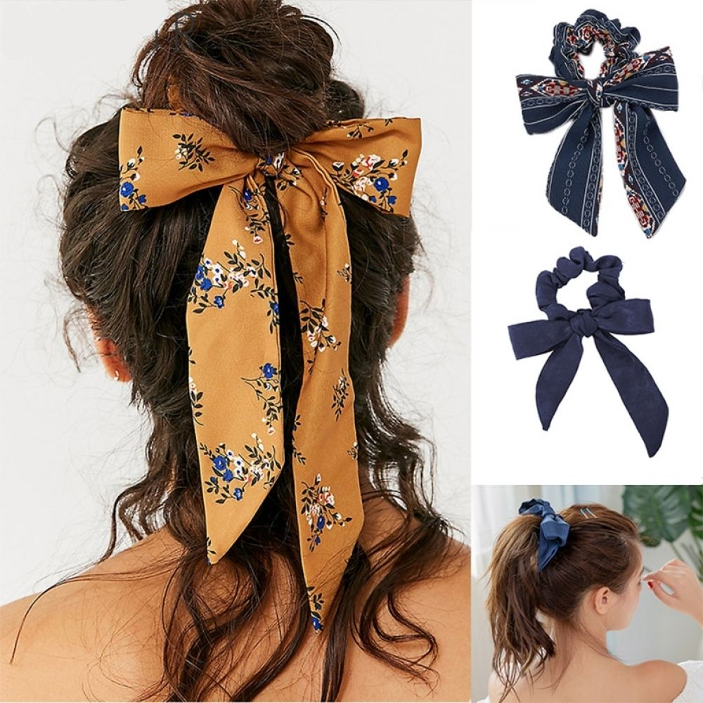 Printed Ribbon Scrunchie Tie
