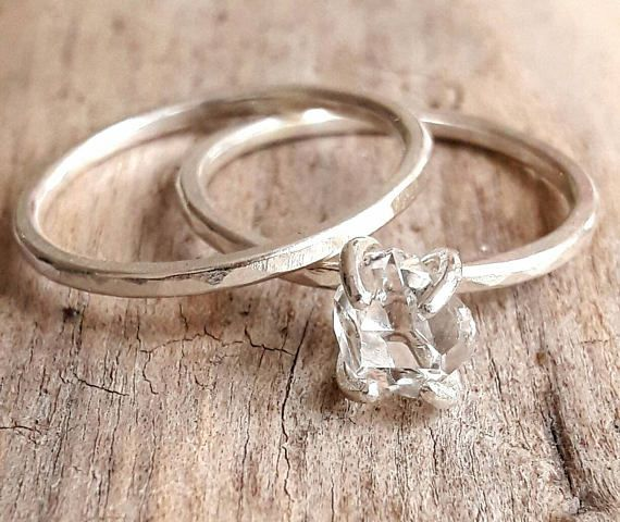 Herkimer Diamond And Sterling Silver Ring Set Silver Wedding Ring