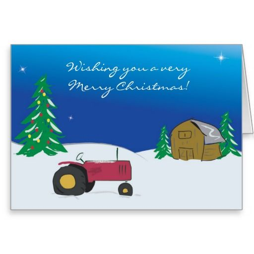 Tractor Christmas Card Red Barn Scene