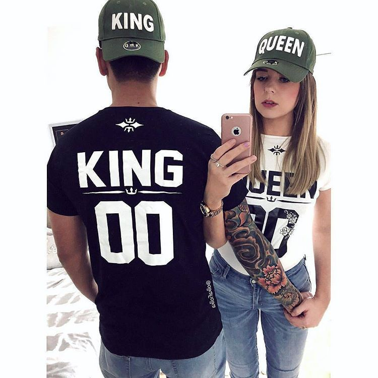 Royalty King And Queen Couples T Shirts ★ Custom Number ★ King Queen Matching Shirts And Number