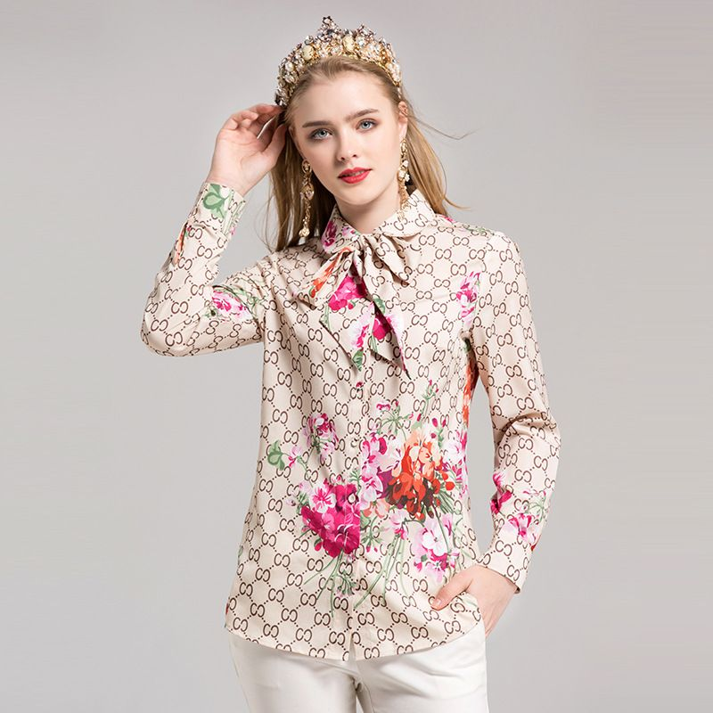 dc1679ce2f8b32 2017 Autumn Korean Fashion Bow Women's Tops And Chiffon Blouse Designer  Runway Black Beige Floral Print Long Sleeve Shirt #Blouse designs
