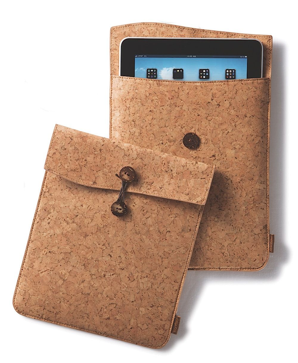 5a76606da4a3b bambu s iPad Travel Case. Fashioned after the old school manila envelope.  Made from eco-lux cork fabric. Durable and soft