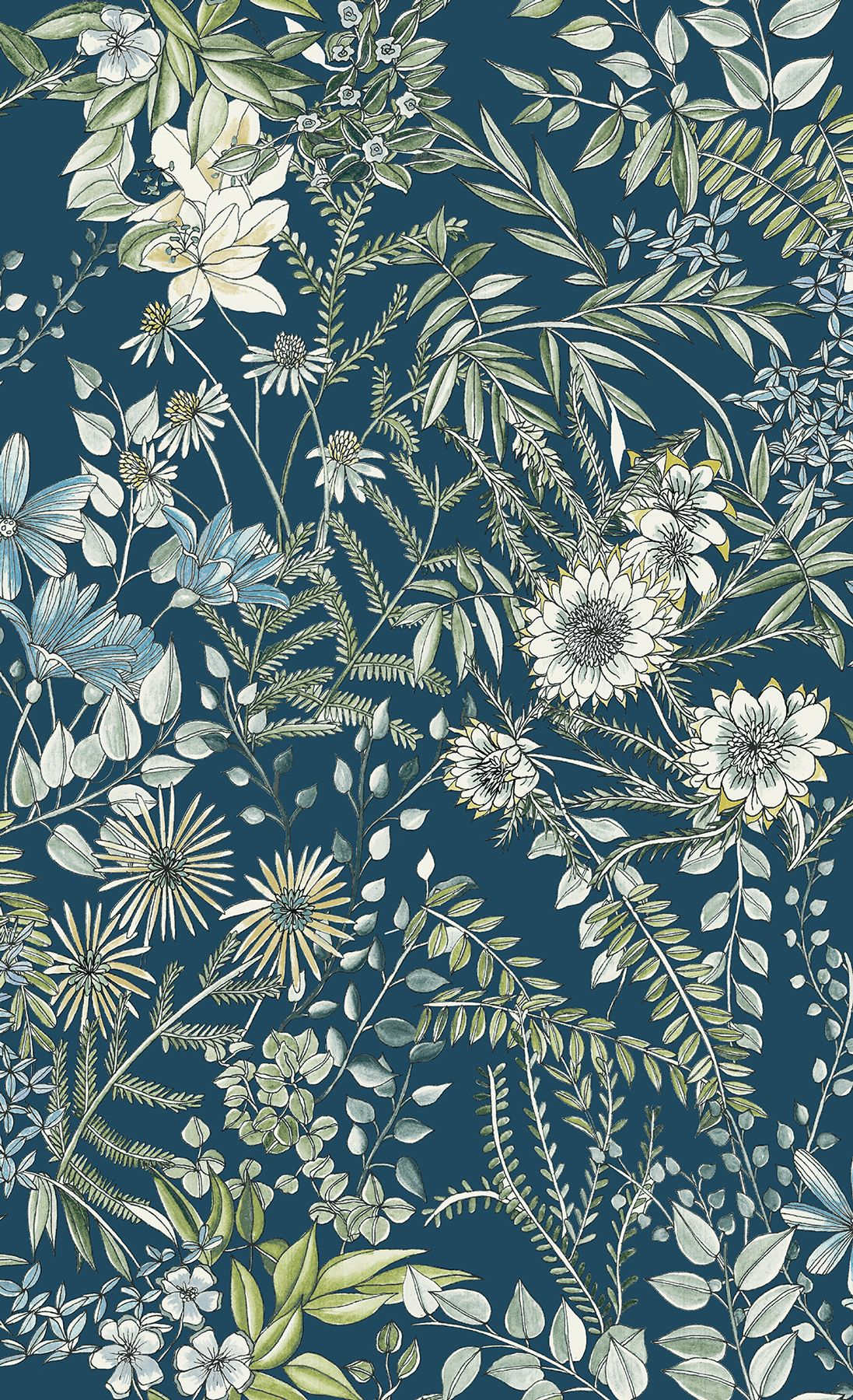 Full Bloom Navy Floral Wallpaper Blue Floral Wallpaper Green