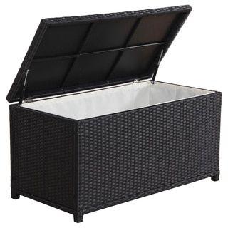 BroyerK Outdoor Black Wicker Cushion Storage Box By BroyerK