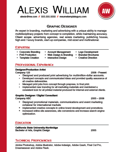 Resume Template Keyword Optimized For A Graphic Designer Fully