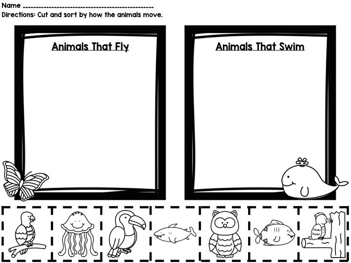 how animals move printable book sorting worksheets posters worksheets students and animal. Black Bedroom Furniture Sets. Home Design Ideas