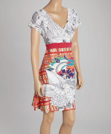 Look what I found on #zulily! Orange & White Garden Sketch Surplice Dress - Women by Smash #zulilyfinds