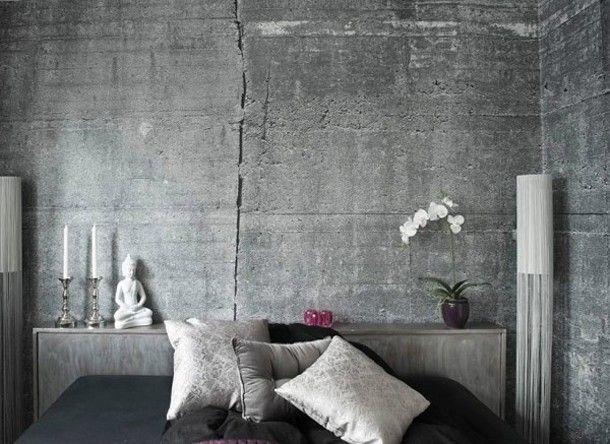 Modern Slaapkamer Behang : Concretewall behang met de ruige uitstraling van beton