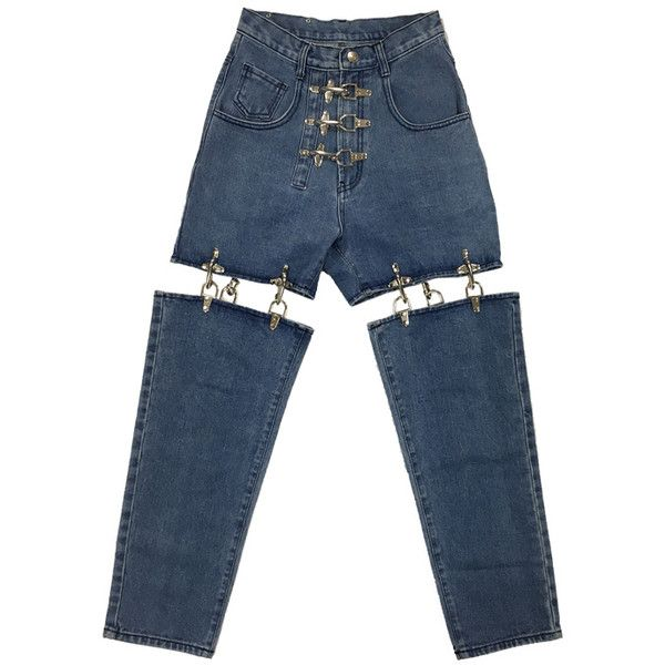 2fc7371d9 受注商品 FIRE MAN METAL JOINT PANTS -BLUE DENIM- ( 290) ❤ liked on Polyvore  featuring pants